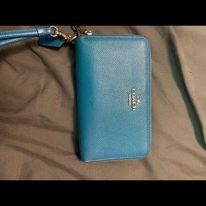 Blue Coach clutch wallet